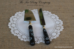Black with Flowers Cake Knife _ Server The Tea party Company