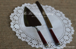 Dark Red Cake Knife _ Server Set The Tea party Company