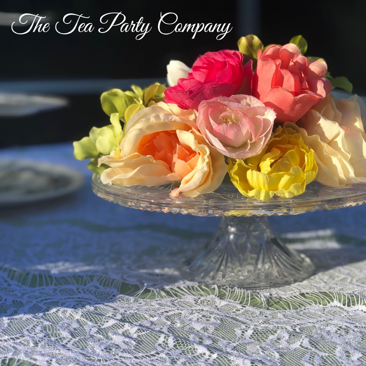 glass cake stand The Tea Party Company