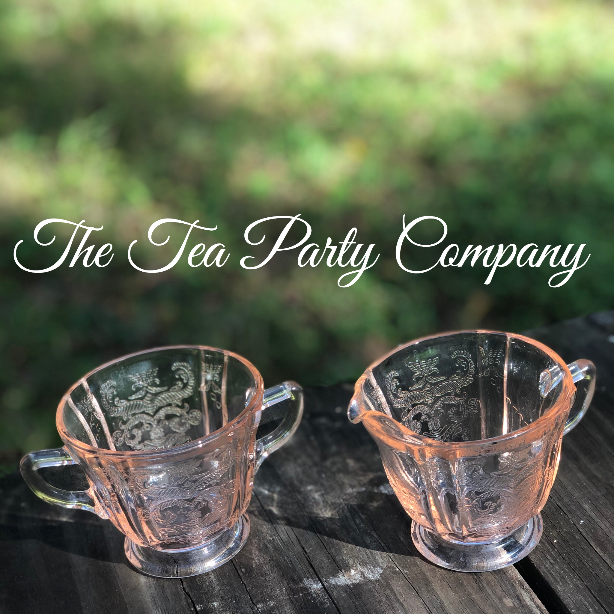 Pink Glass Creamer and Sugar Bowl The Te