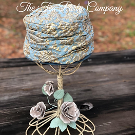 From The Tea Party Company Props Collction- Vintage Hat Bleu And Gold Brocade