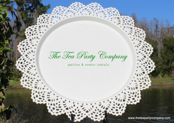 White Metal Lace Border Charger The Tea Party Company