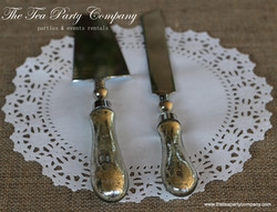Silver Mercury Finish Cake Knife _ Server Set  The Tea party Company