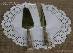 Silver Plated Robe Handles Cake Knife _ Server Set The Tea Party Company