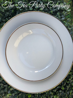 White & Gold Rim Dinner and Salad Plate
