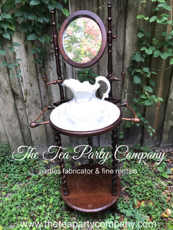 Antique wash stand with pitcher and basi