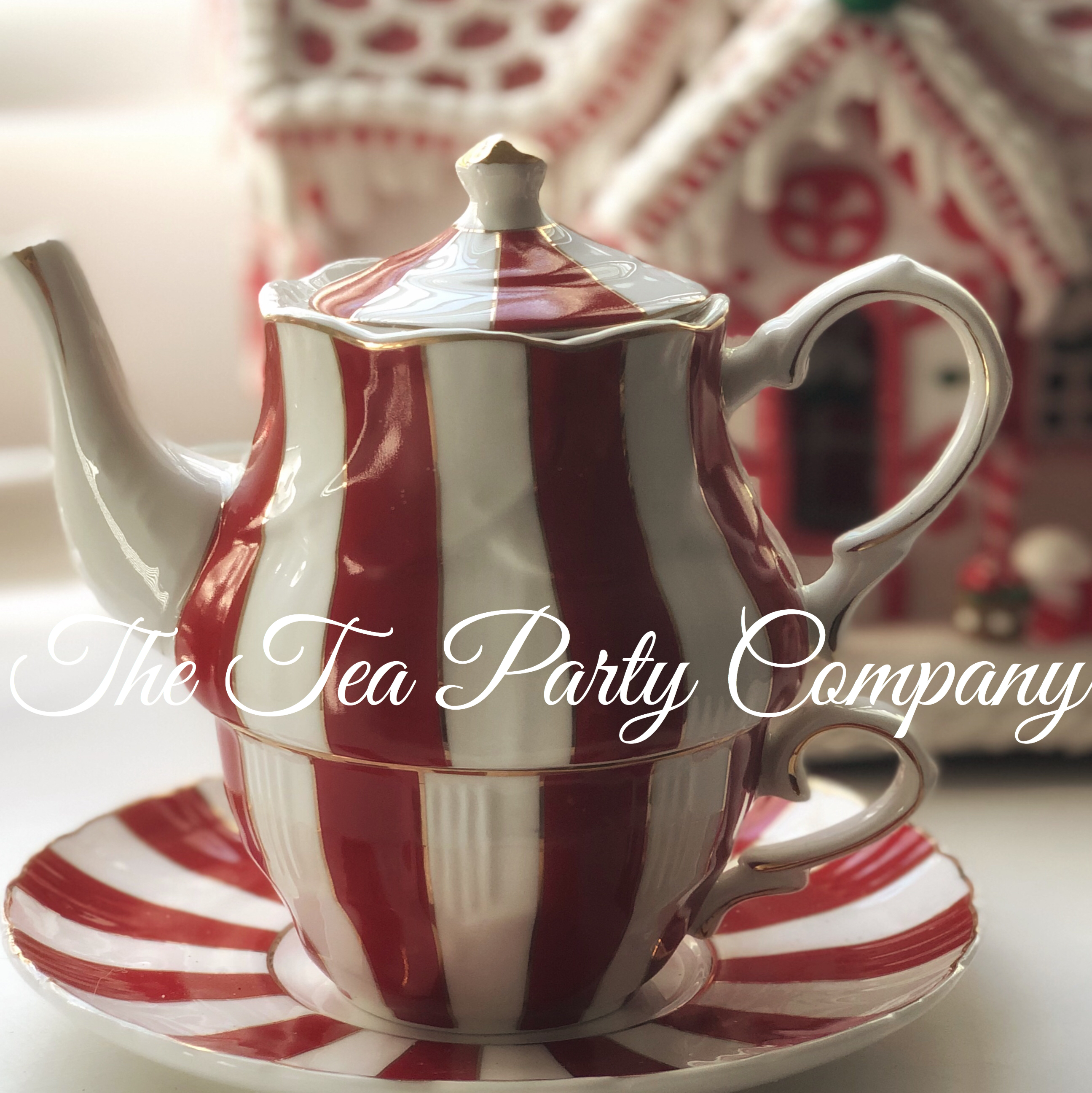 Candy Cane Tea Cup, Saucer and Tea POt F