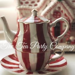 Candy Cane Tea Cup, Saucer and Tea POt F