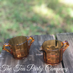 Amber Glass Creamer and Sugar Bowl The T