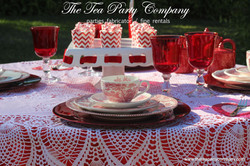 red toile china table decor The Tea Part