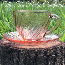 Pink Tea Cup Colored Glass Collection The Tea Party Company