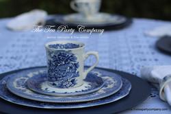 Blue Toile mug sald and dinner plate