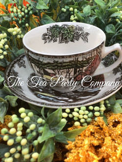 brown toile teacup and saucer The Tea Pa