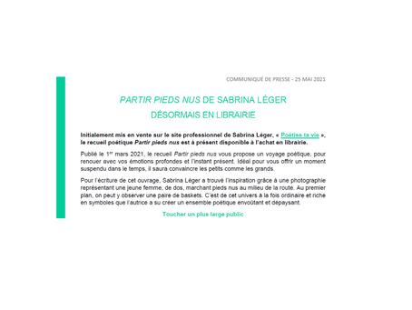 CP – 25 mai 2021 : Partir pieds nus de Sabrina Léger désormais en Librairie ( par Alycia Bouëdron )