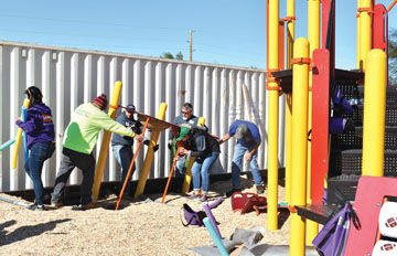 Volunteers install playground at Mohave Valley/Fort Mohave park