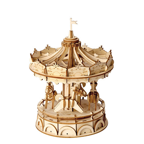 3D Laser Cutting Wooden Puzzle Merry-Go-Round