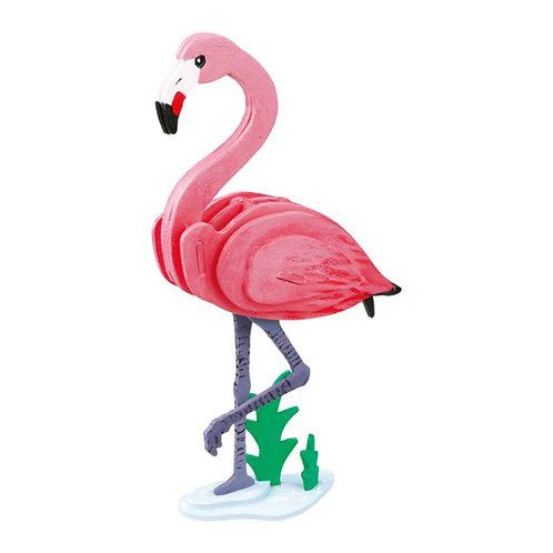 Painting 3D Wooden Puzzle Flamingo
