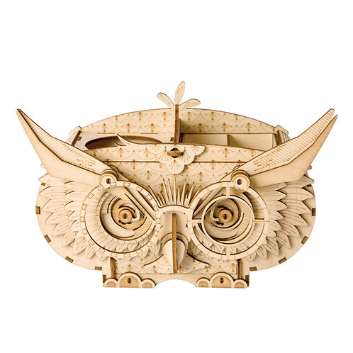 3D Laser Cutting Wooden Puzzle Owl Storage Box