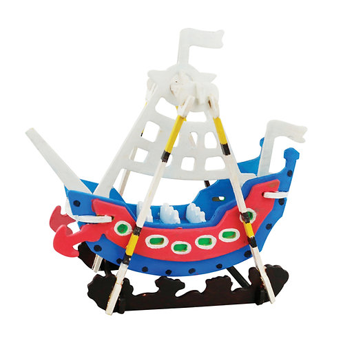Painting 3D Wooden Puzzle Swing Boat