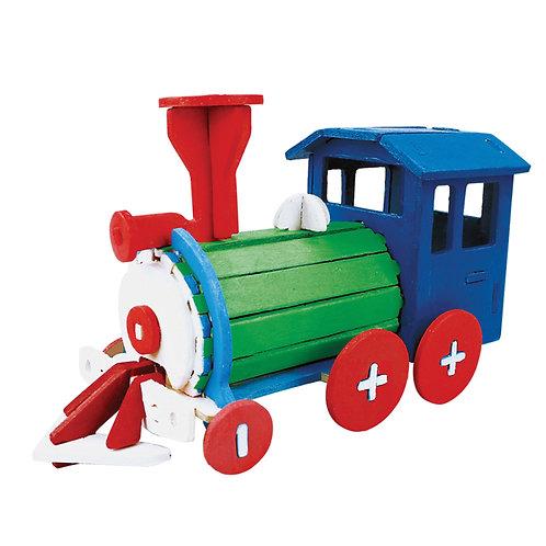 Painting 3D Wooden Puzzle Locomotive