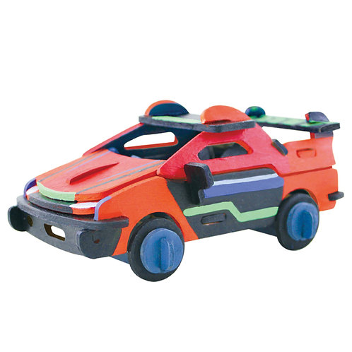 Painting 3D Wooden Puzzle Racing Car