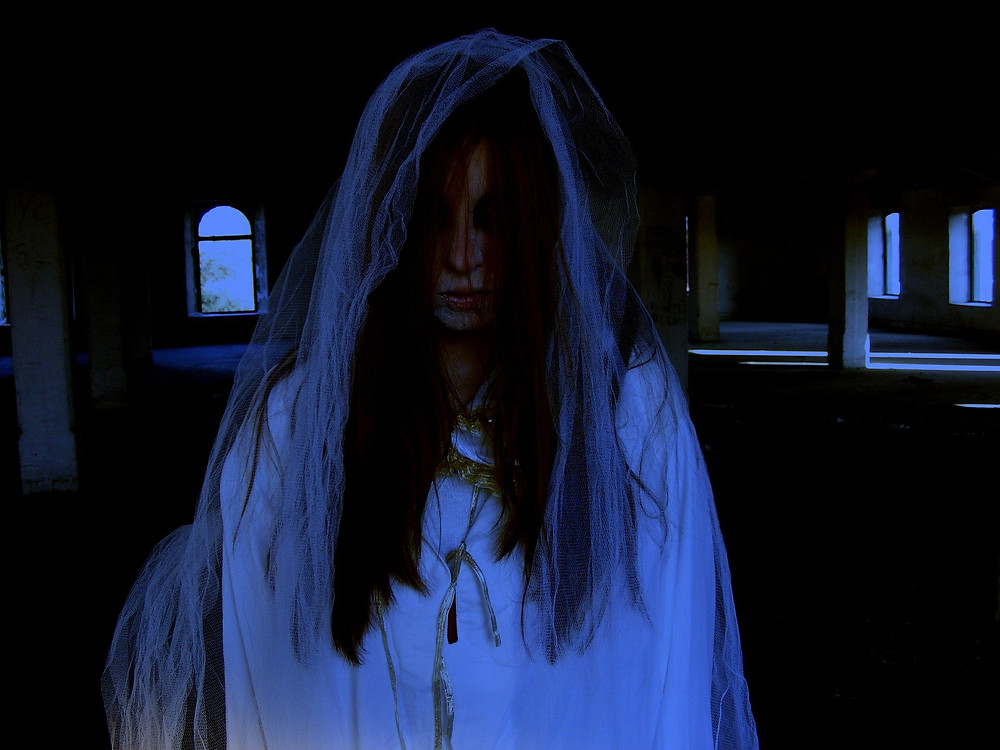 Photo shows a dark haired ghost-like woman wearing white. She is also wearing a think white cape/veil