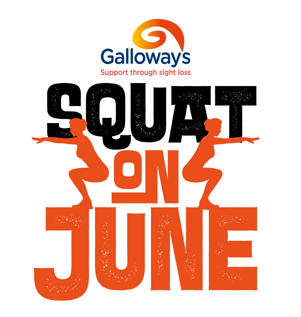 Graphic shows Squat on June with the Galloway's logo and two red silhouettes to show how to squat