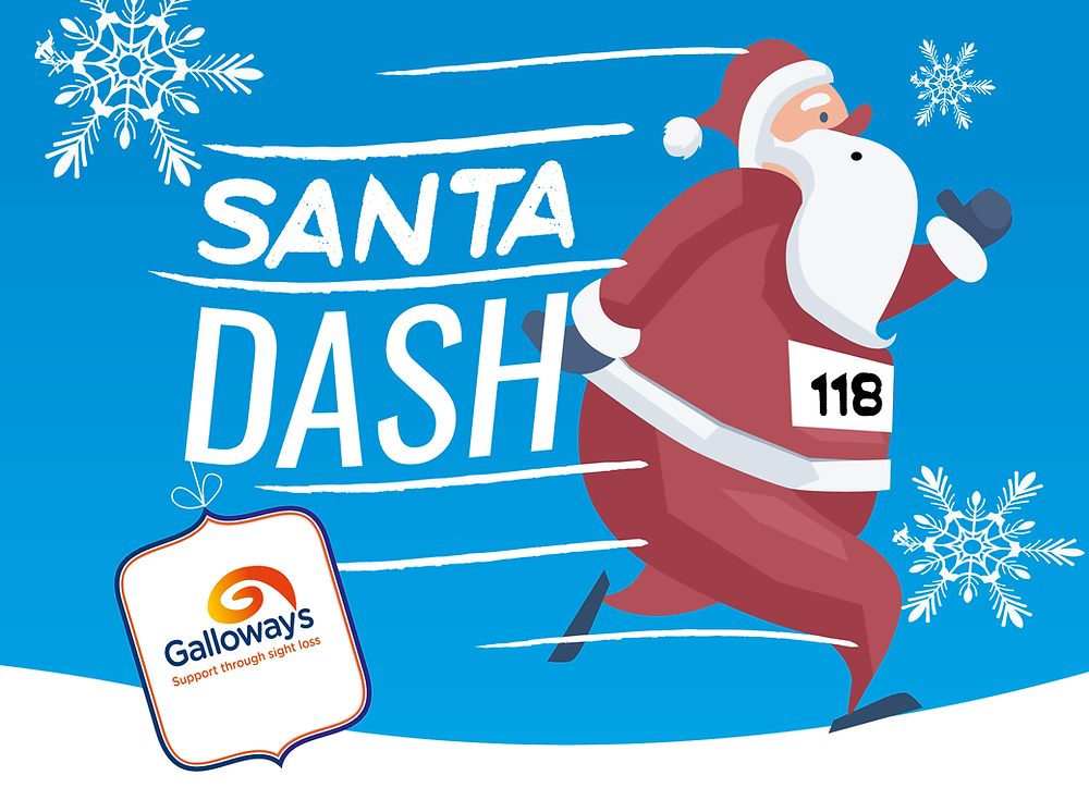 Graphic shows Santa running on snow, set against a sky blue background. To the left of him are the words Santa Dash in white, with five wind lines. There is a white snowflake top left and bottom right. The Galloway's logo is written on a tag, which is hanging of the D (of the word Dash)