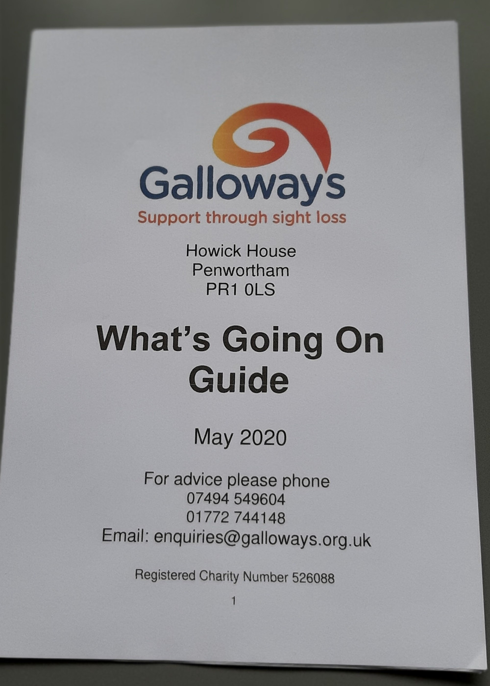 Image shows the printed What's Going On Guide