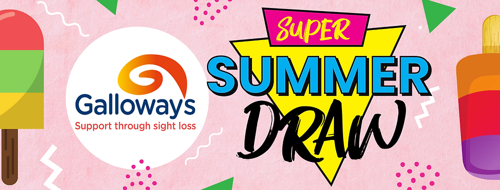 Graphic shows Super Summer Draw in bold letters on top of a yellow upside down triangle. An ice lolly is positioned to the left and right. Galloway's logo to the left. Background is pale pink