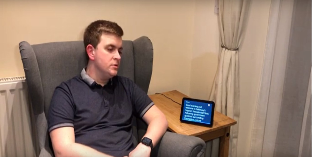 Andrew Coleman, Assistive Technology Coordinator at Galloway's, with his Alexa enabled device