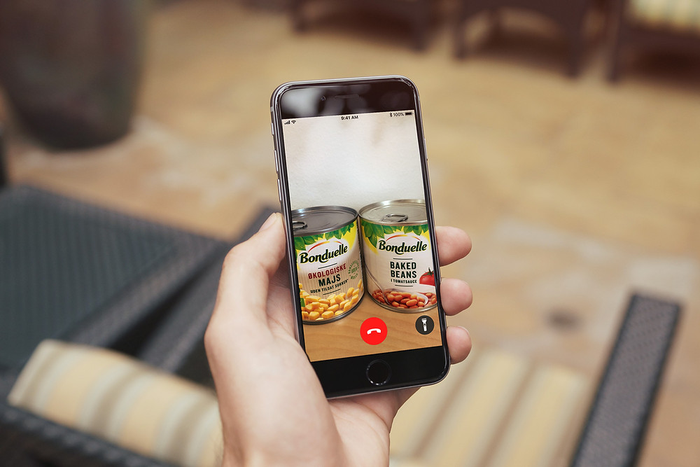 Photo shows someone holding a phone which shows two tins of food on a video screen