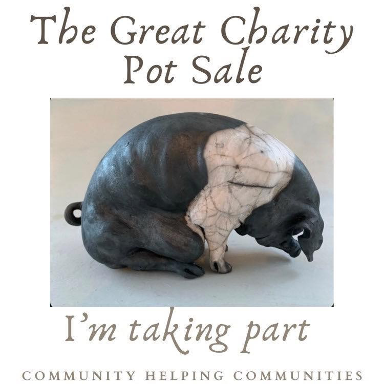 Poster says The Great Charity Pot Sale. I'm taking part, Communities helping communities. Picture in the middle of the ceramic pig