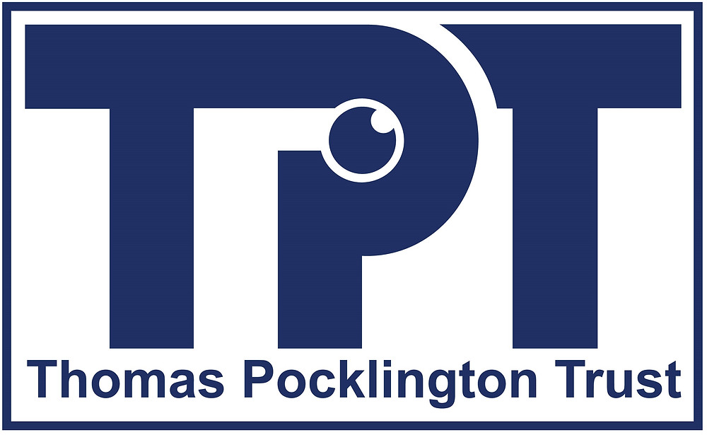 Image shows TPT in large dark blue letters. The P has an eye as its centre circle. Below are the words Thomas Pocklington Trust