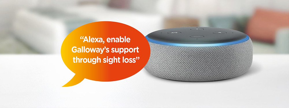 Image shows an Alexa Echo dot with an orange speech bubble saying, 'Alexa, enable Galloway's support through sight loss.'