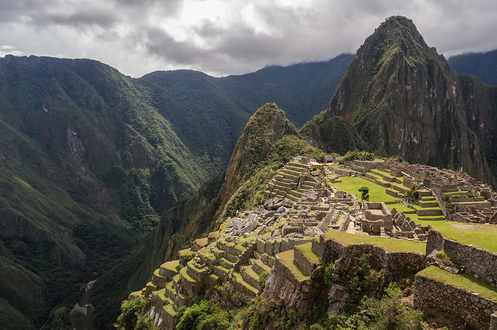 Machu Picchu is a citadel set high in the Andes Mountains in Peru, above the Urubamba River valley
