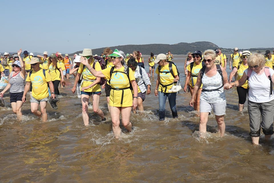 Fund-raisers dressed in yellow Galloway's T-shirts paddling through water across Morecambe Bay
