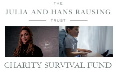 Logo shows Julia and Hans Rausing Trust Charity Survival Fund in grey letters. There are two photos: A woman wearing a black jumper stood against a grey background; and a young boy sat down, reading Braille