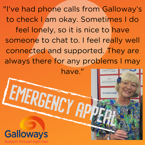 Graphic shoes an image of Jean Lilley, in an orange box with a quote form her. The graphic has the words Emergency appeal in a white box and the Galloway's logo