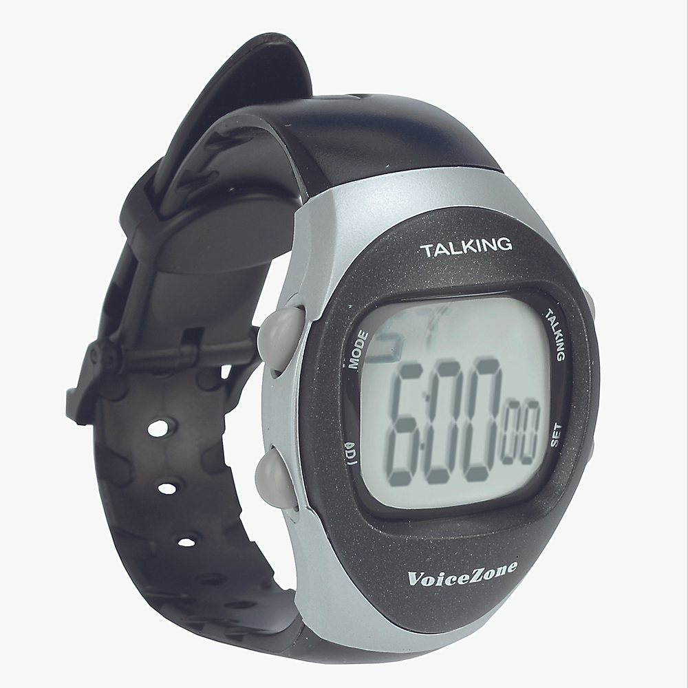 Digital talking watch with stopwatch. This watch comes with a digital display with numbers measuring one centimetre