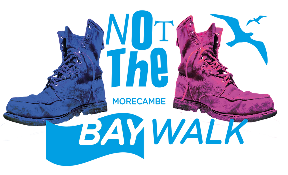 Graphic shows a blue walking boot and a purple walking boot with the words Not the Morecambe Bay Walk. There are two blue birds flying in the sky