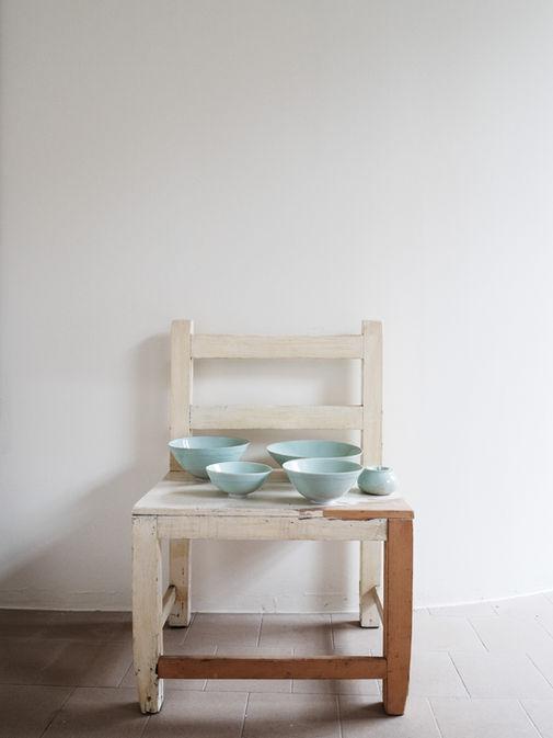 Celadon bowls. Porcelain. 25x9; 21x10; 18x9; 15x7 Sugar bowl. Porcelain