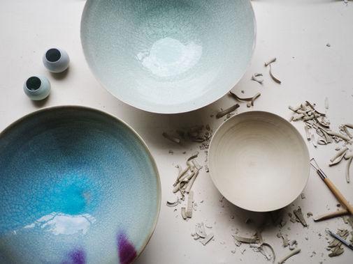 Blue bowl with copper red. Stoneware. 36x13  Celadon bowl. Stoneware. 34x12