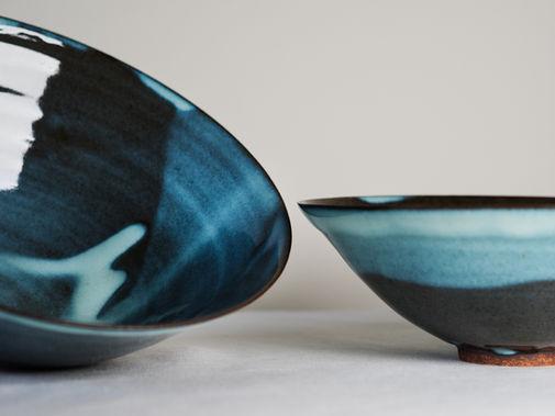 Blue bowl. Stoneware. 30x11