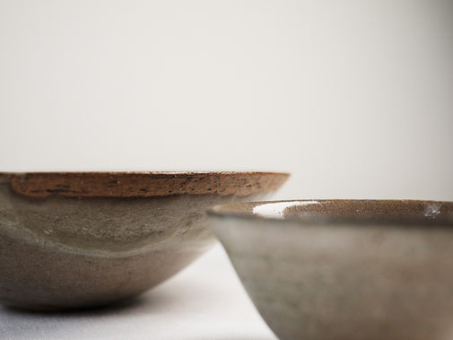 Mother of pearl bowl and cup. Stoneware  19x6h and 9x5h