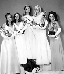 Left to right: Miss Tampa, Annette Johnson; Miss South Miami, Toni Joanne Soavo; Miss Florida 1969, Lynne Edea Topping; Miss FSU, Karen Petersen; and Miss Fort Lauderdale, Linda Cecile Brown, at the 1969 Miss Florida Pageant
