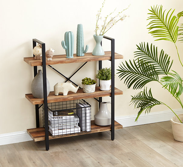 Inspirer Studio 3 Tiers Ladder Shelf, Vintage Bookshelf, Storage Rack