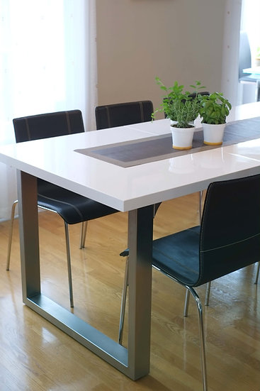 Roman Extendible Dining Table Pedestal Table MDF High-Gloss White
