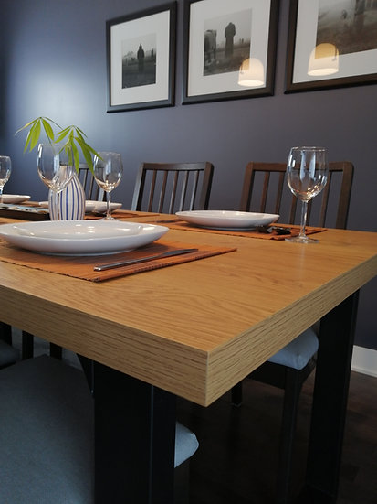 Roman Extendible Dining Table Oak Finish