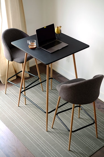 3 pcs Modern Pub Table Dining Set, Matte Black Table with 2 Bar Stools
